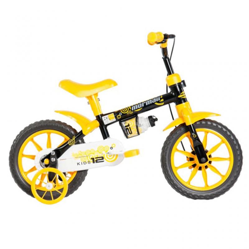 Bicicleta Mormaii Aro 12 Kids Preto/Amarelo - 2011702 - Mormaii