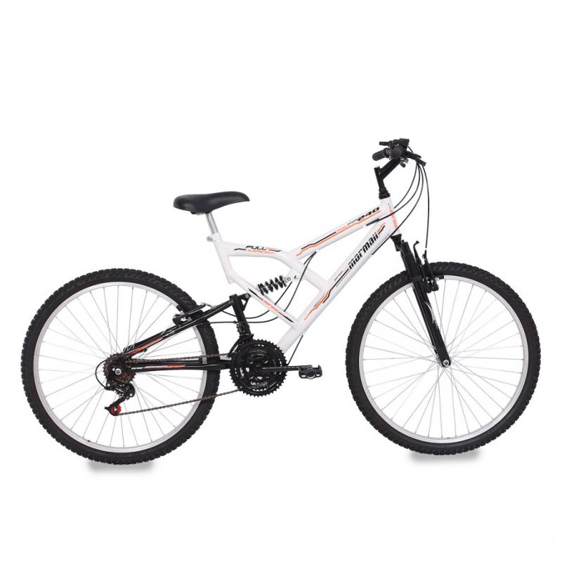 Bicicleta Mormaii Aro 26 FULL FA240 18V Branco/Preto - 39-023 - Mormaii